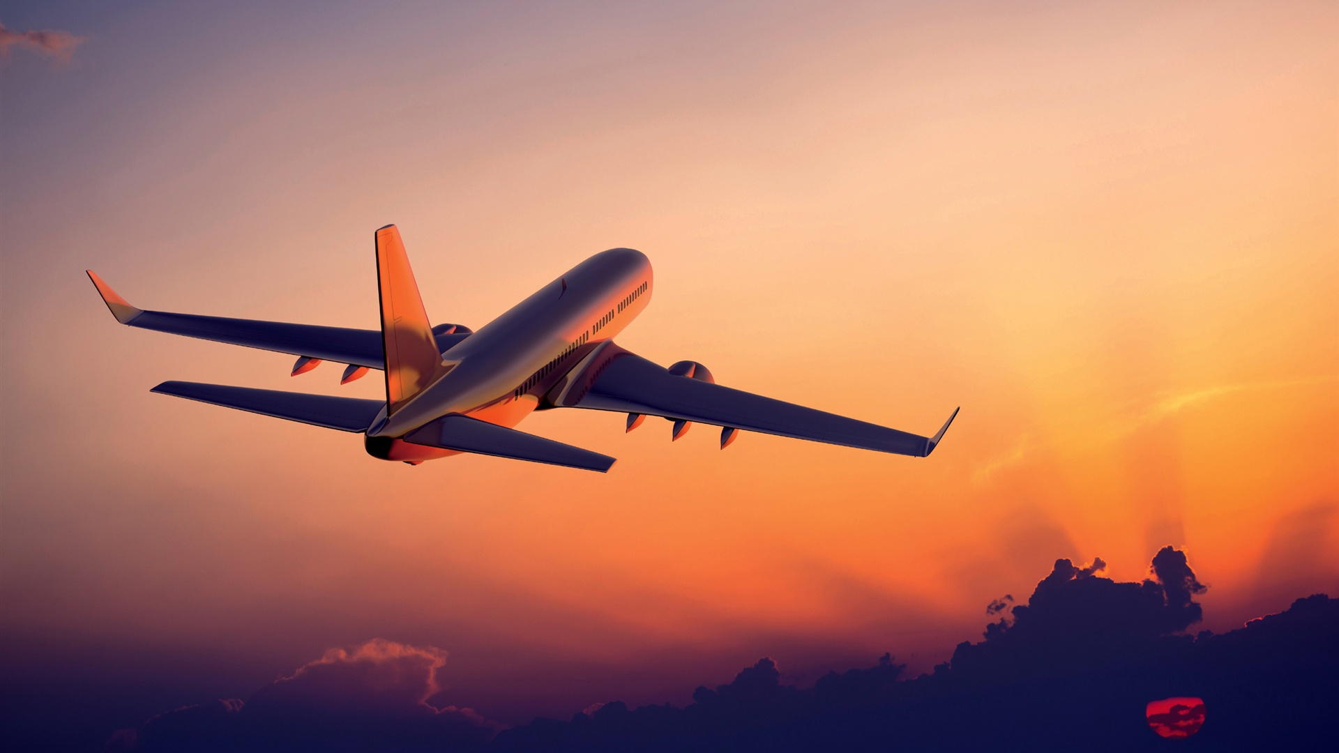 The plane flying at sunset airliner