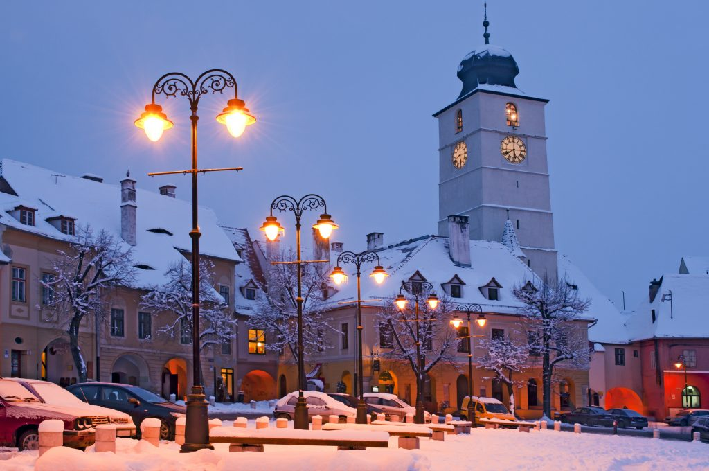 Winter urban landscape in Sibiu Transylvania Romania