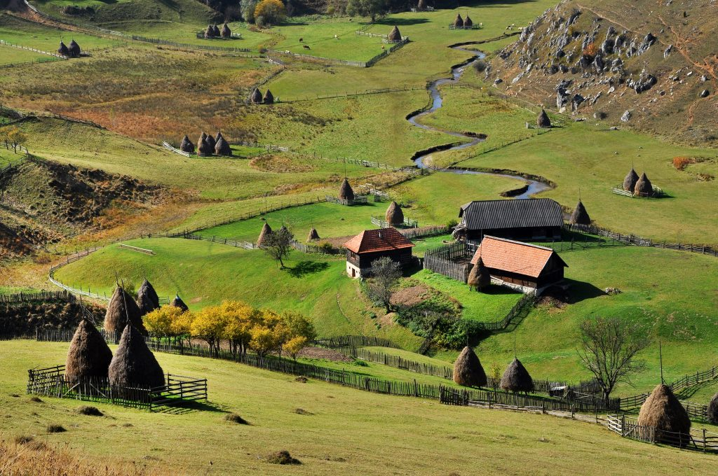autumn rural landscape with a small village PXGVD4A