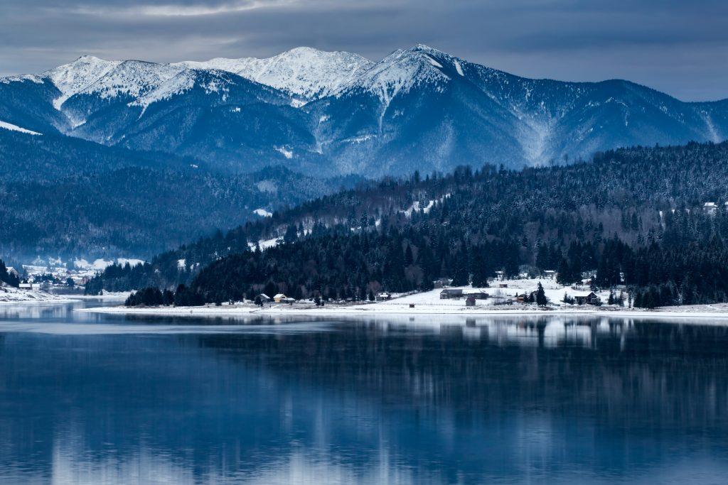 frozen lake and pine trees in snow at colibita rom E37U2GB