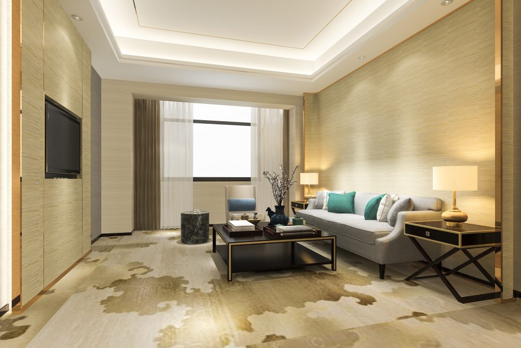 3d rendering luxury and modern living room in suit FNFPBL3