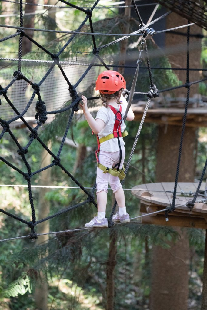 girl child young in a harness and safety equipment climbing through a challenging rope tree climbing t20 98ZL2B