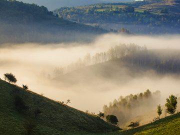 apuseni mountains romania misty autumn morning P9YMVEC