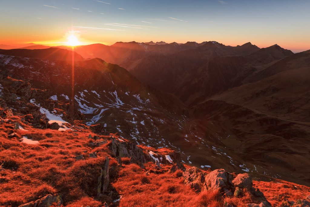 sunset in the carpathian mountains romania PW7K4CS